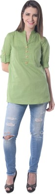 Florrie Fusion Casual Roll-up Sleeve Printed Women's Green Top