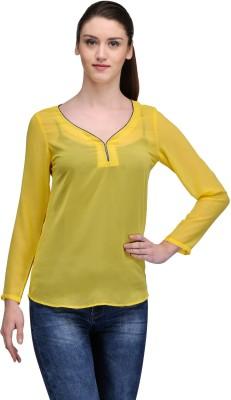 TheGudLook Casual Full Sleeve Solid Women's Yellow Top