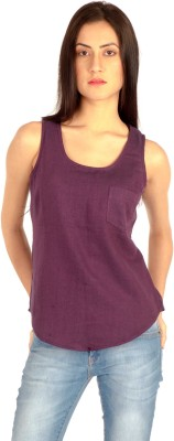 MIST ISLAND Casual Sleeveless Solid Women's Purple Top