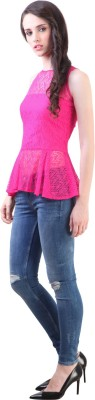 Vvine Party, Casual Sleeveless Self Design Women's Pink Top