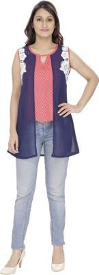 Franclo Party Sleeveless Polka Print Women's Blue, Pink Top