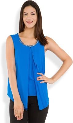 Tokyo Talkies Casual Sleeveless Solid Women's Blue Top