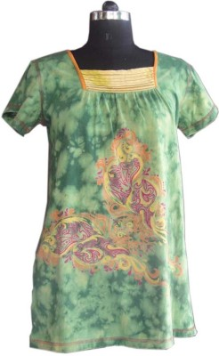 Beautiful Clothes Casual Short Sleeve Printed Women's Green Top