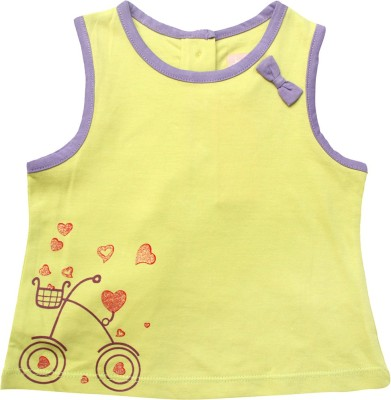 Jus Cubs Casual Sleeveless Printed Baby Girls Yellow Top