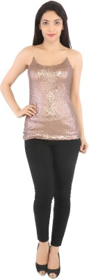 Tenn Casual Sleeveless Solid Women's Brown Top