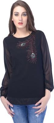 Trendy Divva Casual Full Sleeve Self Design Women,s Black Top