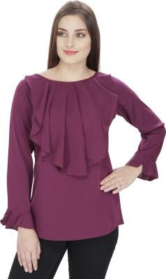 Pops N Pearls Casual Full Sleeve Solid Women's Purple Top