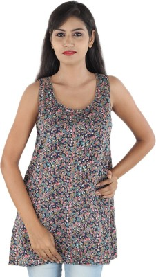 Megha Casual Sleeveless Floral Print Women,s Multicolor Top