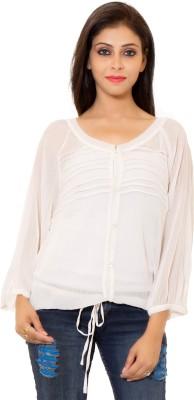 Eleganceranuka Formal Full Sleeve Self Design Women's White Top