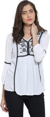 Ama Bella Casual 3/4 Sleeve Embroidered Women's White Top