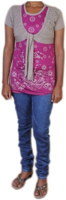 Jhumri Casual Short Sleeve Floral Print Girl's Purple Top