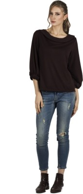 109F Casual 3/4 Sleeve Solid Women's Brown Top