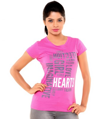 PEP18 Casual Short Sleeve Graphic Print Women's Pink, White Top