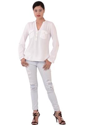 Fashnopolism Casual Full Sleeve Solid Women's White Top