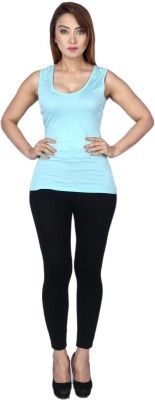 La Divyyu Party Sleeveless Solid Women's Blue Top