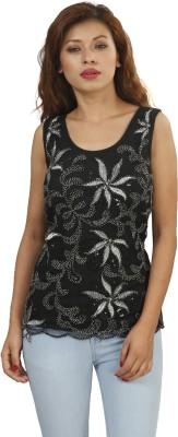 Naitik Casual Sleeveless Printed Women's Black Top