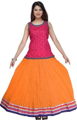 Shes Solid Women's Regular Orange Skirt
