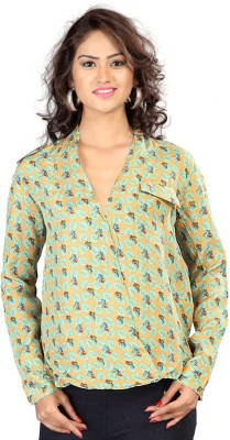 SFDS Festive, Formal, Party Full Sleeve Printed Women's Green Top
