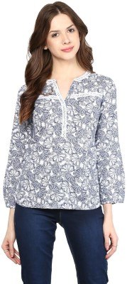 Citrine Casual Full Sleeve Printed Women,s White, Blue Top