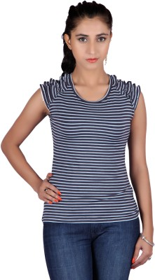 Raves Casual, Sports, Party Sleeveless Striped Women's Dark Blue Top