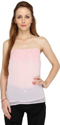 Pepperika Casual Sleeveless Solid Women's Pink Top