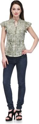 Glamdiva Casual Short Sleeve Geometric Print Women's Green Top