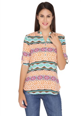 Girl Next Door Casual Roll-up Sleeve Printed Women's Orange Top