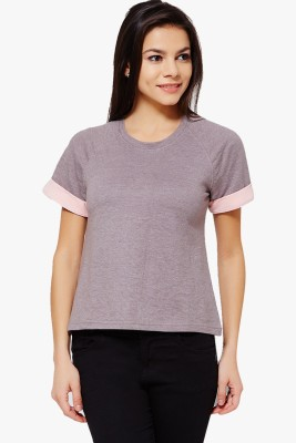PNY Casual Short Sleeve Solid Women,s Grey Top