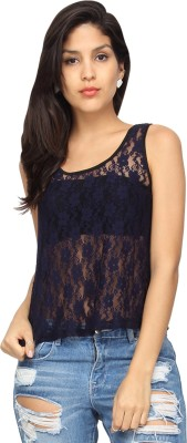 Americanlaundry Casual Sleeveless Embroidered Women's Blue Top