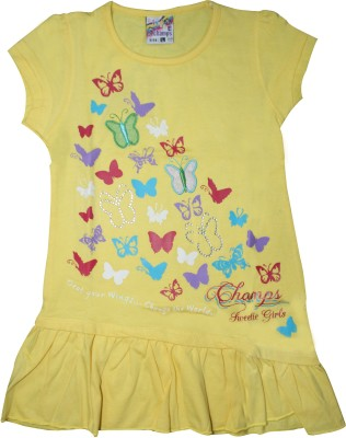 Mankoose Casual Short Sleeve Printed Girl's Yellow Top
