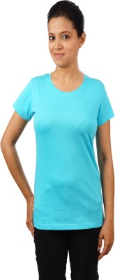 Indophile - Natural Fashion Casual Short Sleeve Solid Women's Light Blue Top