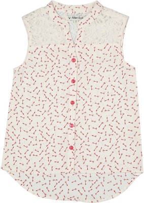 Allen Solly Casual Sleeveless Printed Girl's White Top