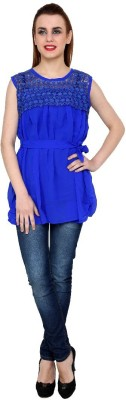 Zotw Casual Sleeveless Solid Women's Blue Top