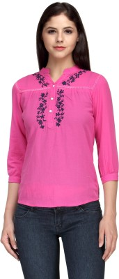 India Inc Casual 3/4 Sleeve Embroidered Women's Pink Top