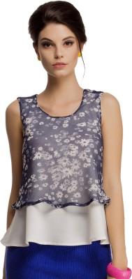 Clovia Casual Sleeveless Floral Print Women's White Top