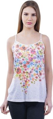 Merch21 Casual Noodle strap Floral Print Women's White Top