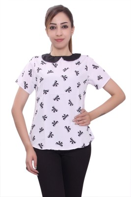 Tinge of Colors Casual, Formal 3/4 Sleeve Printed Women's White Top