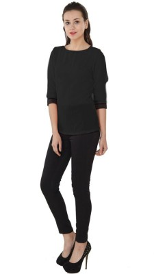 Western Route Casual 3/4 Sleeve Solid Women's Black Top