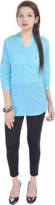 Fantasy Ika Casual 3/4 Sleeve Self Design Women's Blue Top