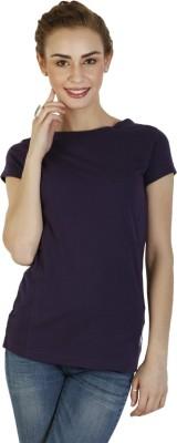 Duke Stardust Casual Short Sleeve Solid Women's Purple Top