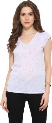 Leo Sansini Casual Cap sleeve Printed Women's White Top