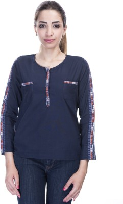 Falak Casual Full Sleeve Embroidered Women's Dark Blue Top