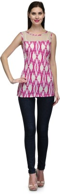 Glamdiva Casual Sleeveless Printed Women's Beige Top