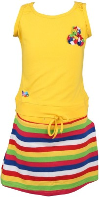 Pami Party Sleeveless Striped Baby Girl's Yellow Top