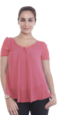 Revoure Formal Short Sleeve Solid Women's Pink Top