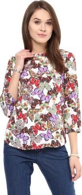 AROVI Casual 3/4 Sleeve Animal Print Women's Multicolor Top