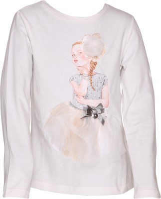 EverSaver Party Full Sleeve Embellished Girl's White Top