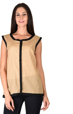 Curvy Q Casual Sleeveless Solid Women's Brown Top