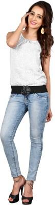 khushali Party Sleeveless Self Design Women's White, Black Top