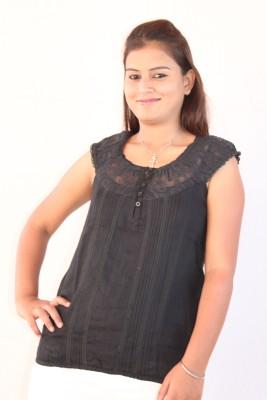 Mittal Formal Cape Sleeve Self Design Women's Black Top